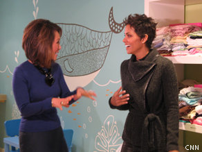 Halle Berry meets Alina Cho at the Jenesse Center, a shelter for domestic violence victims