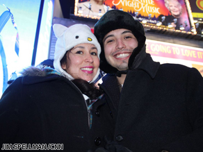Victoria Chavez and Manuel Romero have come from New Mexico to New York City to experience the arrival of 2011 in Times Square.