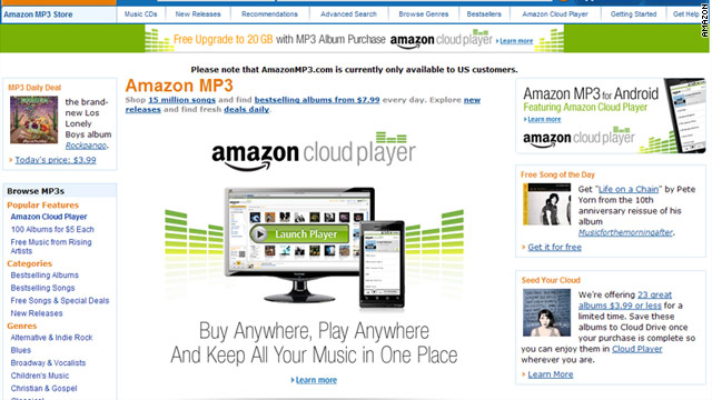 Amazon has launched it's Cloud Player that lets anyone upload their music and play them via web or Android.