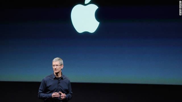 Tim Cook presenting new iPhone - image from CNN