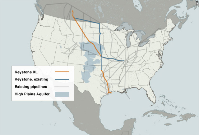 Map of proposed Keystone XL oil pipeline