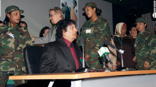 At a 2007 meeting in Paris, Gadhafi is seen surrounded by his female bodyguards.