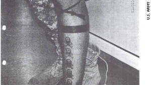 """This photo from the U.S. Army shows Sgt. Calvin Gibbs' tattoos that are suspected to represent his """" kills."""""""