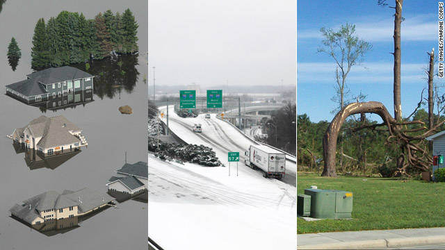 From tornadoes to flooding to paralyzing ice storms, the United States was severely affected by 12 natural disasters in 2011 that cost more than $1 billion each and claimed hundreds of lives, according to the <a href='http://www.noaanews.noaa.gov/stories2011/20111207_novusstats.html' target='_blank'>National Oceanic and Atmospheric Administration</a>.