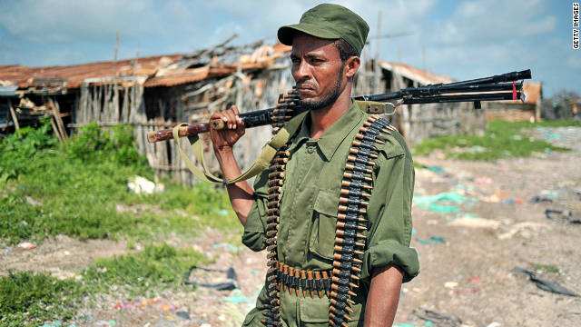 A fighter allied with the Federal Government of Somalia in Bur Gabo, Southern Somalia, on December 14, 2011.