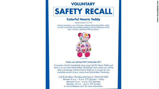The Build-A-Bear Workshop company is recalling nearly 300,000 Colorful Hearts Teddy Bears sold in the U.S. and Canada.