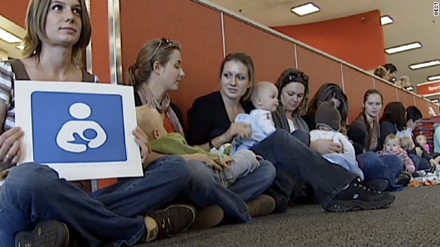 Several women from Wilmington, North Carolina, take part in a national protest Wednesday after a mother in Houston was recently told to stop breastfeeding in a Target store.