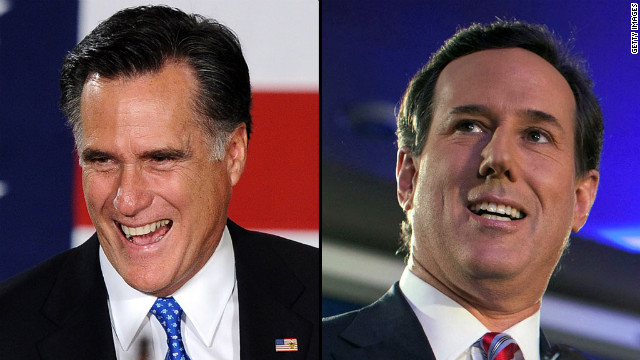 Mitt Romney, left, and Rick Santorum each had roughly 25% of the GOP Iowa caucus vote .