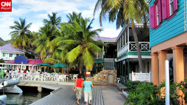 """<br/>Andrew Warren took this photo of colorful buildings at Soper's Hole on Tortola. """"We love the beauty and laid back feel of the place, the warmth of the people and find that each island has its own unique character and charm."""""""