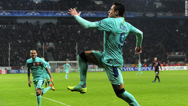 Barcelona's Alexis Sanchez celebrates after scoring during the Champions League last 16 tie against Bayer Leverkusen.