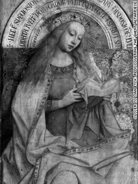 <br/>Here the Virgin Enthroned is seen in digital infrared reflectograms, which look past the painted surface of the picture and reveal the under-drawings beneath.