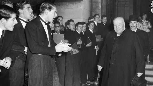 "Winston Churchill, seen at Harrow School in 1958, gave a stirring wartime address there in 1941: ""Never give in. Never give in. Never, never, never, never -- in nothing, great or small, large or petty -- never give in, except to convictions of honor and good sense. Never yield to force. Never yield to the apparently overwhelming might of the enemy."""