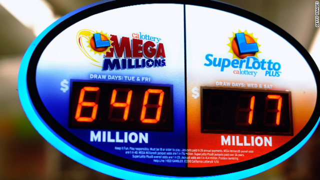 The Mega Millions jackpot has reached a record high of $640 million ahead of tonight's drawing as seen here on a Liquorland sign in Covina, California.