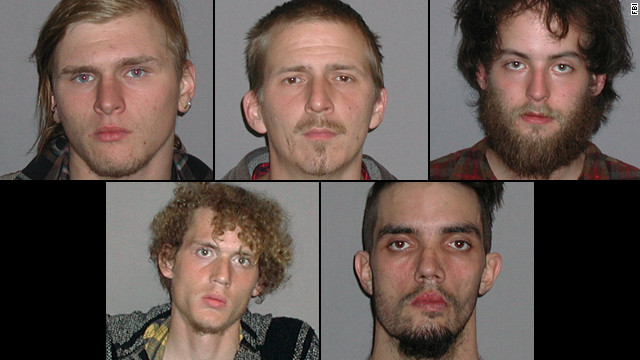 FBI photos show Brandon Baxter, top from left, Anthony Hayne, Connor Stevens; bottom, Joshua Stafford and Douglas Wright.