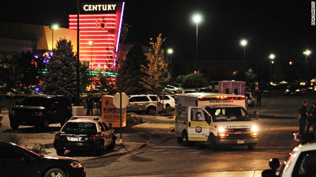 "An ambulance is parked outside. Of the wounded, at least 20 were being treated at the University of Colorado Hospital, said spokeswoman Jacque Montgomery. ""They're arriving by police, by ambulance. Some are walking in,"" she said."