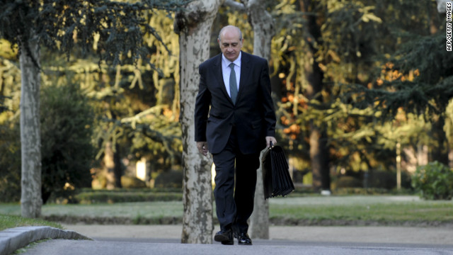 Spanish Interior Minister Jorge Fernandez Diaz, shown here in December 2011, said two suspects resisted arrest on a train.