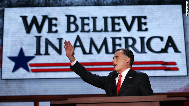 Presidential candidate Mitt Romney delivers his acceptance speech on the final day of the Republican National Convention at the Tampa Bay Times Forum on Thursday, August 30.