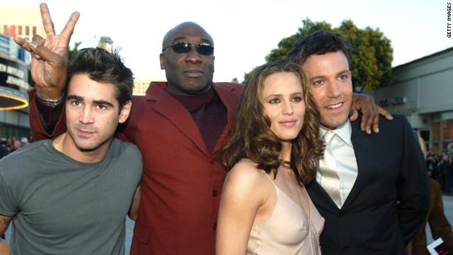 """Colin Farrell, Duncan, Jennifer Garner and Ben Affleck arrive for the premier of """"Daredevil"""" in 2003."""