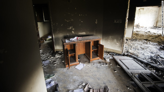 A desk inside the burnt U.S. Consulate building in Benghazi, Libya, on Thursday, September 13, two days after the attack.