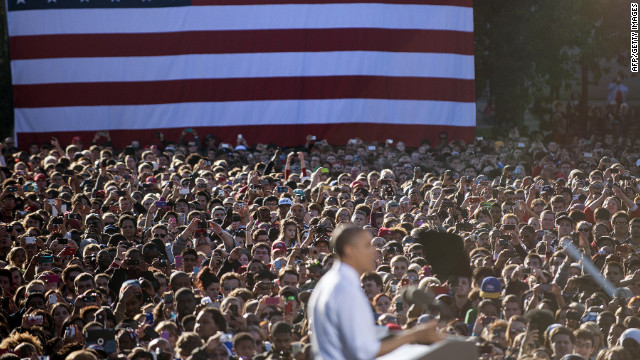 President Barack Obama addresses supporters during a campaign event at The Ohio State University on Tuesday.