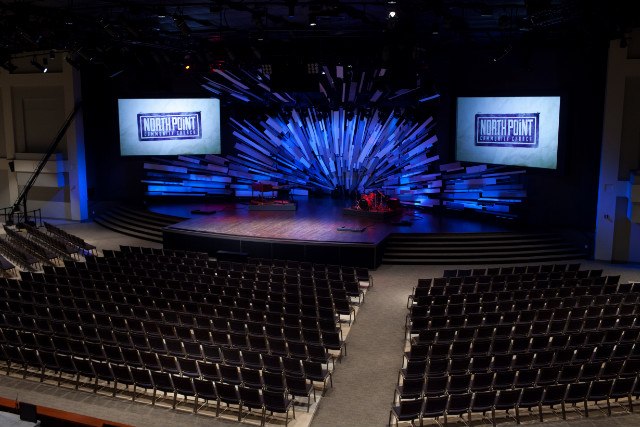 Chairs replace pews and bands replace choirs and organs at North Point Community Church.