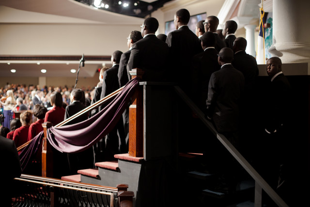 A choir performs during a service for the Rev. Charles Stanley at First Baptist Church Atlanta.