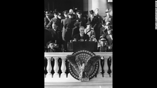 Franklin D. Roosevelt gives his third inaugural address on January 20, 1941.