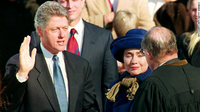 Bill Clinton takes his first inaugural oath on January 20, 1993.
