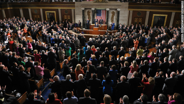 President Obama delivers the State of the Union address to Congress in 2012.