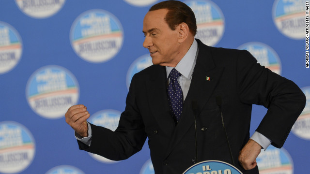 Back in contention: Silvio Berlusconi delivers a speech at a rally in Rome on February 7, 2013.