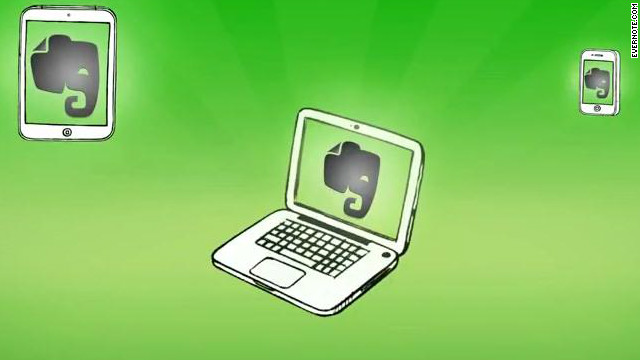 Evernote uses online cloud storage to let users access their notes on multiple computing devices.