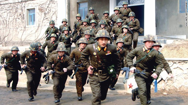 Soldiers in the North Korean army train at an undisclosed location on March 6.
