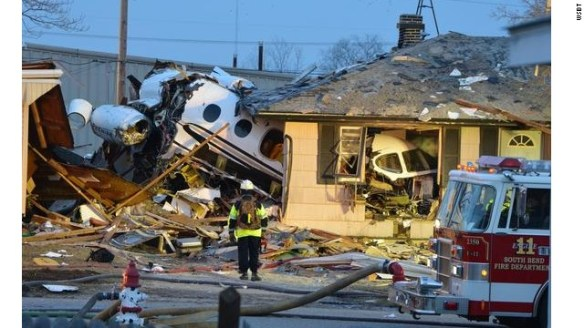 A private jet crashed into homes Sunday in South Bend, Indiana. At least two people were killed, authorities said.