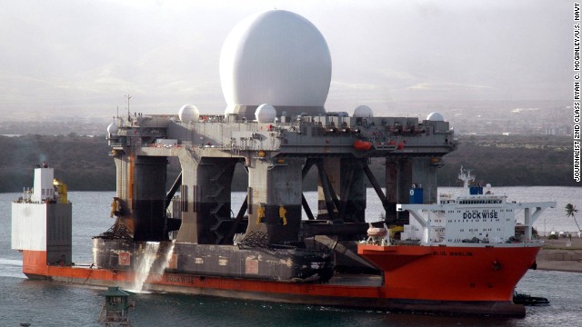 The U.S. Navy is moving a sea-based radar platform, like the one seen in this 2006 file photo, closer to the North Korean coast in order to monitor that country's military moves, including possible new missile launches, a Defense Department official said Monday, April 1.<!-- --><br /> </br>