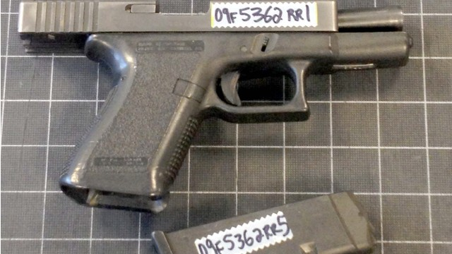 Alleged crooked NYPD officer Jose Tejada's service weapon, which was allegedly used in a hold-up.