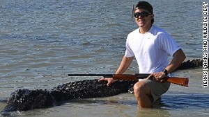 This huge 800-pound, 14-foot, 3-inch gator was bagged in the James E. Daughtrey Wildlife Management Area in Texas.