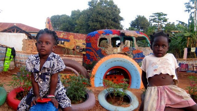 Other attractions include swings and climbing structures created with recycled materials such as old tires.