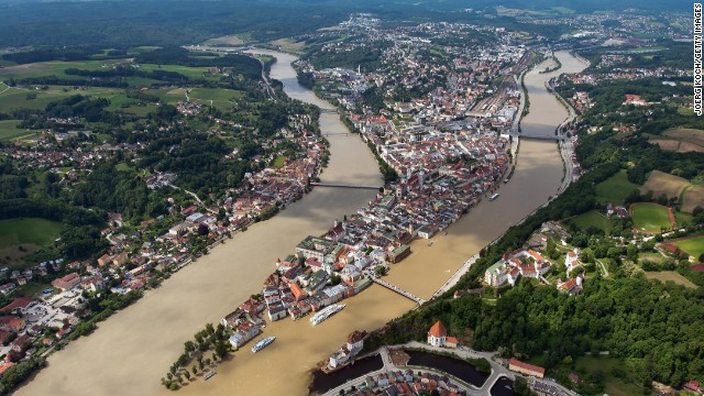 The Inn, left, and Danube rivers flood parts of the historic city of Passau, Germany, on Thursday, June 6. Heavy rain has left rivers swollen across Central Europe, and the <a href='http://www.cnn.com/2013/06/06/world/europe/europe-flood/index.html'>flooding has caused at least 15 deaths</a> and the evacuation of tens of thousands from their homes in Germany and the Czech Republic.
