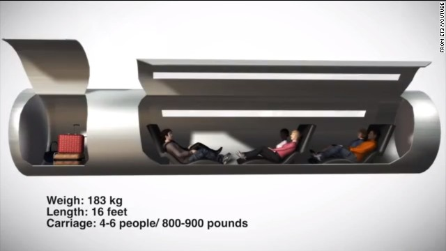 Under this proposal by transportation firm ET3, each passenger capsule would hold 4 to 6 people, plus their luggage.