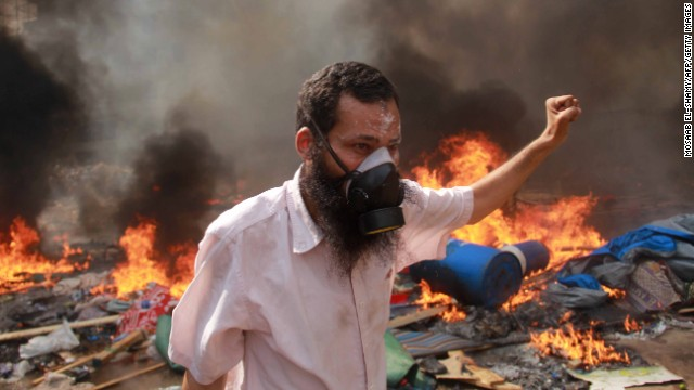 A Morsy supporter during clashes with police in Cairo on August 14.