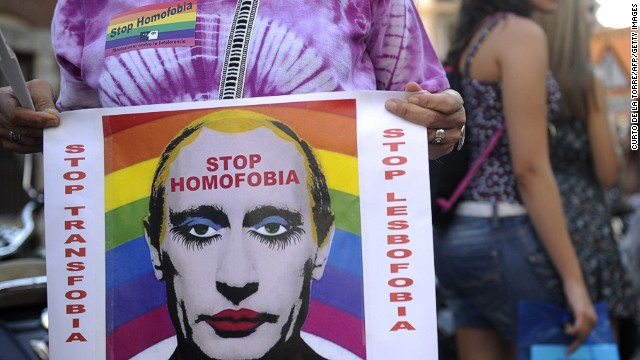 The issue of Russian gay rights draws protesters this week at the Spanish Ministry of Foreign Affairs and Cooperation in Madrid.