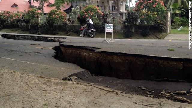 Roads are damaged in Loboc, Bohol