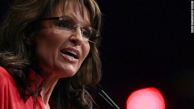 """In the middle of the Republican presidential primaries in February 2012, Sarah Palin tells the Conservative Political Action Conference that the party needs a candidate who """"can instinctively turn right,"""" a dig at eventual GOP nominee Mitt Romney."""