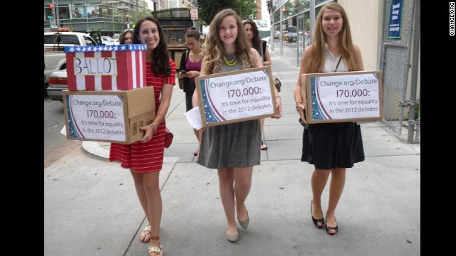 Sammi Siegel, Emma Axelrod and Elena Tsemberis are three New Jersey teens who<a href='https://www.change.org/petitions/it-s-time-for-a-woman-moderator-equality-in-the-2012-presidential-debates' target='_blank'> petitioned to get a female moderator</a> for the 2012 presidential debate. CNN's Candy Crowley was named a moderator for the second debate, in which<a href='http://sotu.blogs.cnn.com/2013/12/11/millennial-women-are-closing-pay-gap-but-theyre-still-pessimistic-about-workplace-equality/'> wage parity </a>became an issue.