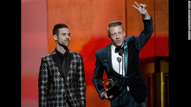 "<strong>Best new artist: </strong>Macklemore & Ryan Lewis. The duo also won best rap album for ""The Heist"" and best rap song and best rap performance for ""Thrift Shop."""