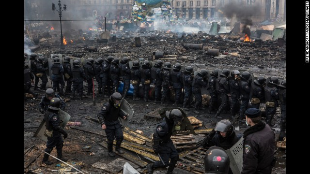 Police form a barrier in Independence Square on February 19.
