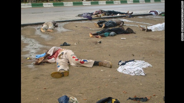 Bodies lie in the streets in Maiduguri, Nigeria, after religious clashes on July 31, 2009. Boko Haram exploded onto the national scene in 2009 when <a href='http://www.cnn.com/2012/01/02/world/africa/boko-haram-nigeria/index.html'>700 people were killed </a>in widespread clashes across the north between the group and the Nigerian military.
