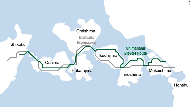 The Shimanami Kaido route.