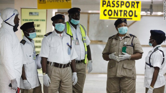 Nigerian health officials are on hand to screen passengers at Murtala Muhammed International Airport on Monday, August 4.