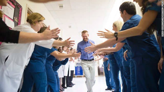 Dr. Kent Brantly leaves Emory University Hospital on Thursday, August 21, after being declared no longer infectious from the Ebola virus. Brantly was one of two American missionaries brought to Emory for treatment of the deadly virus.